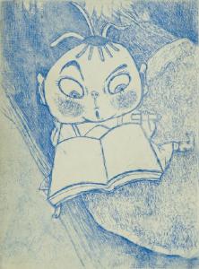 「おいけにドボン(風に吹かれて池に落ちたので)」飯島洋子